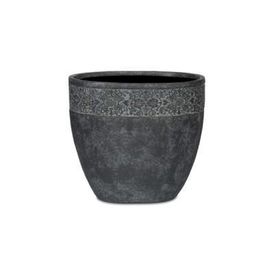 НАНСИ, набор из 3 уличных кашпо, овал, черное серебро, с декоративным элементом, 29*19*26;37* 24*33;45*29*40