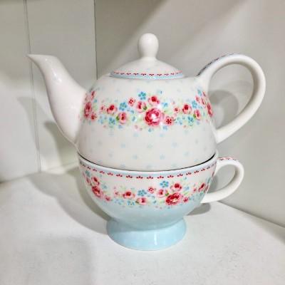 Чайник с чашкой Tess white