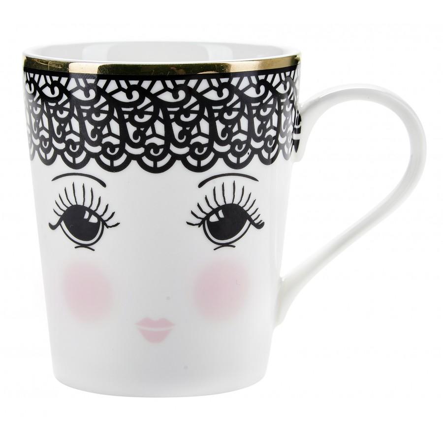Кружка Lace open eyes black/white
