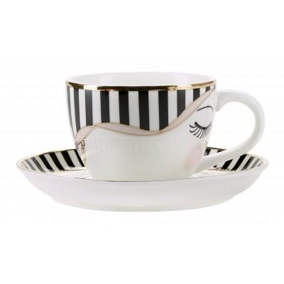 Чашка для эспрессо с блюдцем Сlosed eyes