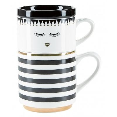 Набор кружек для кофе Closed eyes and stripes 2 шт