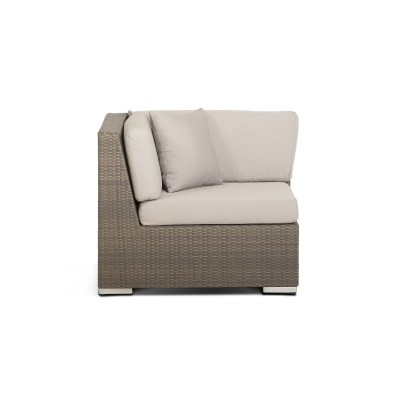 'Беллуно' модуль угловой серо - коричневый с белыми подушками