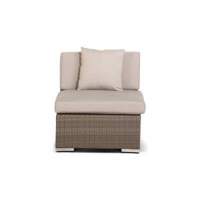 'Беллуно' модуль прямой коричневый с белыми подушками