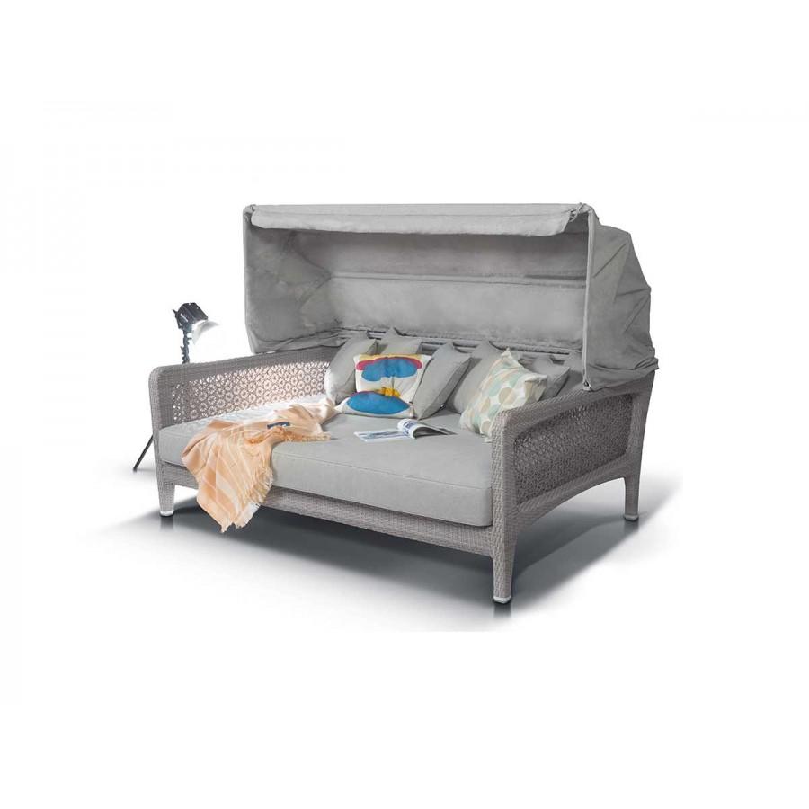 'Лабро', кровать для отдыха из искусственного ротанга со съемным козырьком и чехлом для хранен,серый