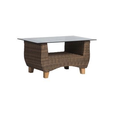 'Нола' кофейный столик со стеклянной столешницей  темно-коричневого
