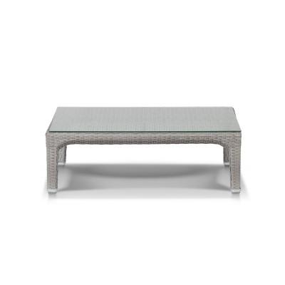 'Лабро', легкий кофейный столик из искусственного ротанга со стеклянной столешницей, серый