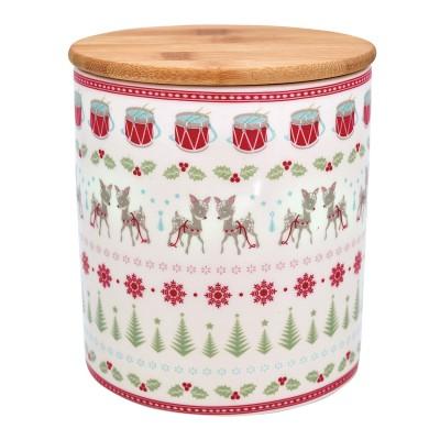 Емкость для хранения Bambi white с деревянной крышкой medium
