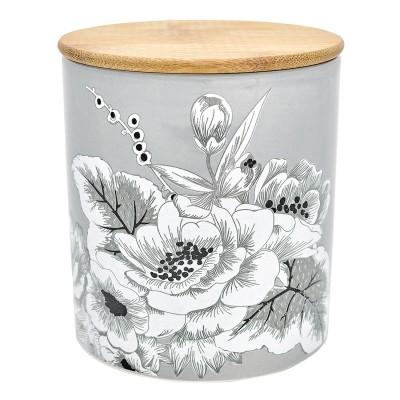 Емкость для хранения Felicity grey с деревянной крышкой medium