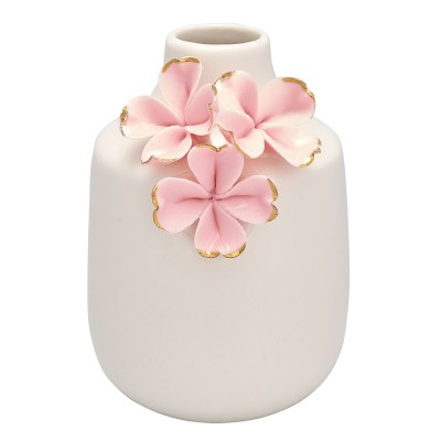 Ваза Flower pale pink w/gold small