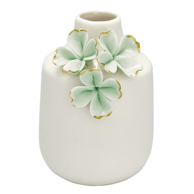 Ваза Flower pale green w/gold small
