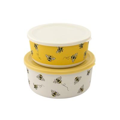 Набор ланч-боксов круглые Bee Warm Cream 2 шт