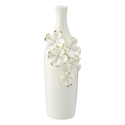 Ваза Flower white w/gold slim