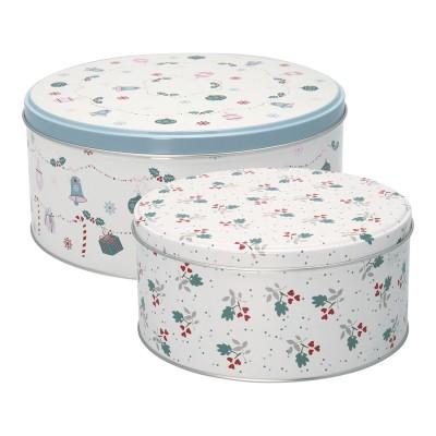 Набор из 2-х круглых банок для хранения Jingle bell white