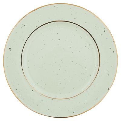Тарелка pale green с золотой каймой 20см