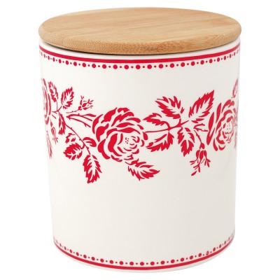 Емкость для хранения Fleur red с деревянной крышкой medium