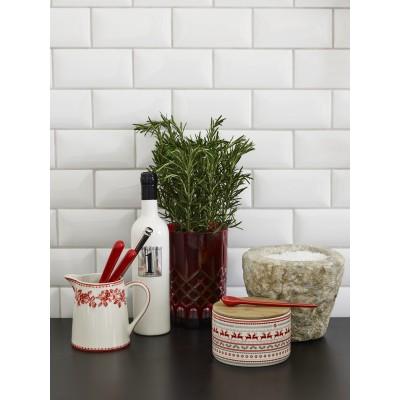 Емкость для хранения Ivy white с деревянной крышкой small
