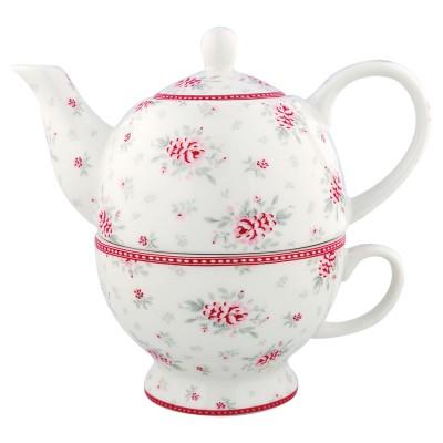 Чайник с чашкой Flora white