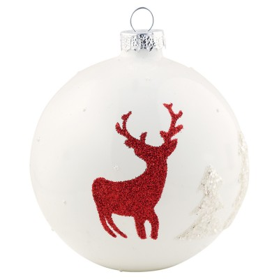 Шар новогодний Deer white