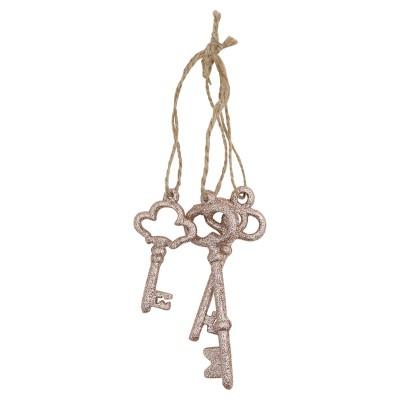 Новогодняя игрушка Набор из 3-х ключей, золото