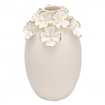 Ваза Flower white w/gold large