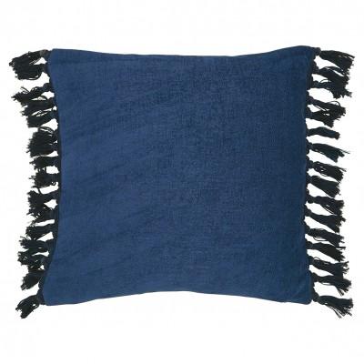 Наволочка с бахромой navy blue 45x45 см