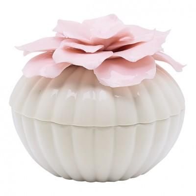 Шкатулка w/flower white large