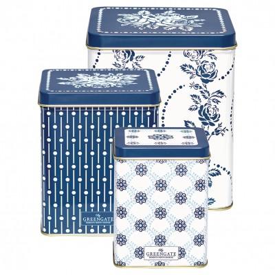 Набор железных банок для хранения fleur blue, набор из  3шт.