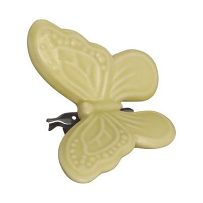 Декоративное украшение на клипсе Butterfly pale yellow w/clip large