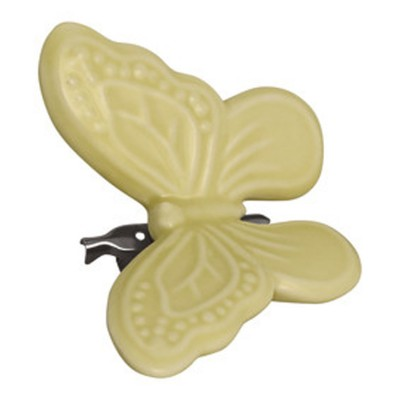 Декоративное украшение на клипсе Butterfly pale yellow w/clip small