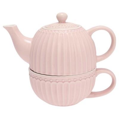Чайник с чашкой Alice pale pink 500 мл/ 250 мл