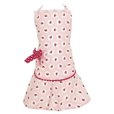 Детский фартук w/bow Strawberry pale pink