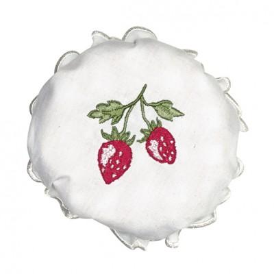 Крышка текстильная для варенья Strawberry white w/embroidery