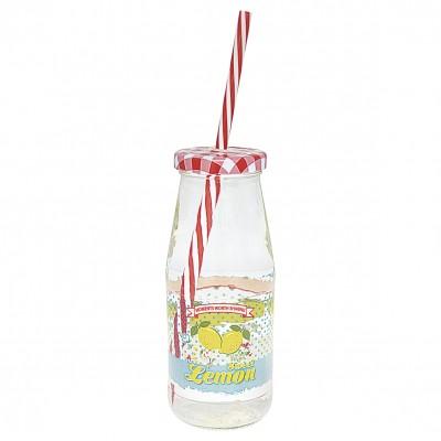 Бутылка Limona pale blue w/lid and straw