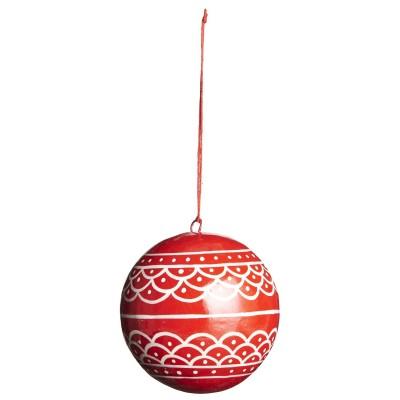 Ёлочная игрушка Шар большой, red with white wavy pattern