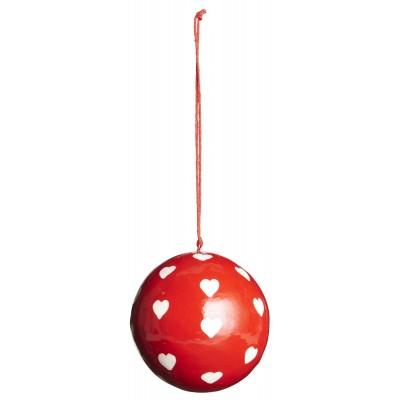 Ёлочная игрушка Шар средний, red with white hearts