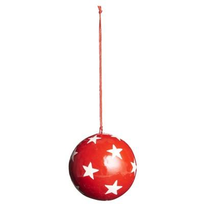 Ёлочная игрушка Шар средний, red with white stars