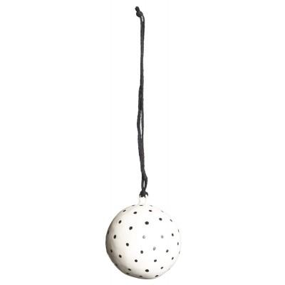Ёлочная игрушка Шар малый, white with black dots