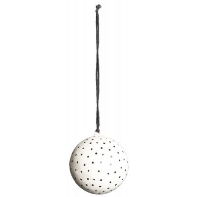 Ёлочная игрушка Шар средний, white with black dots