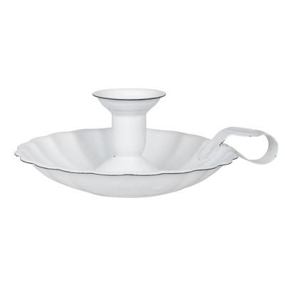 Подсвечник эмалированный для свечи диаметра 2,2 см белый