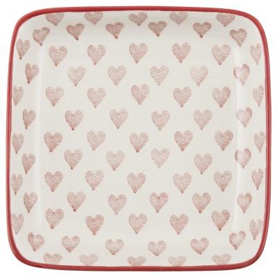 Десертная тарелка Red Hearts, квадратная