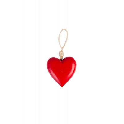 Подвесное украшение Wooden heart red 15 см