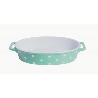 Форма для выпечки Mint green oval with dots 35,5x21,5x7 см