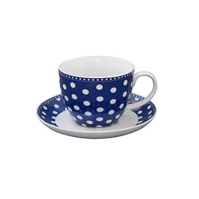 Чайная пара Dots dark blue