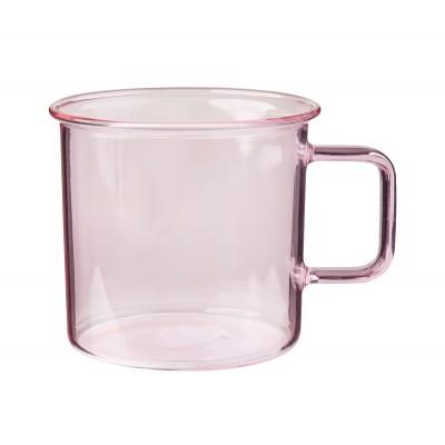 Кружка стеклянная 350 мл, розовая