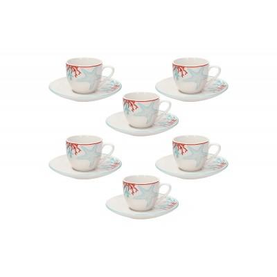 Набор чашек для эспрессо с блюдцем Metropol Alyssa 90 мл - 6 шт.