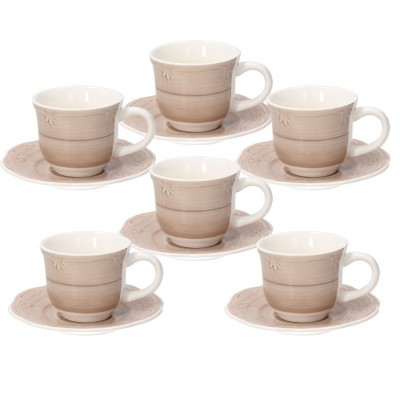 Набор чашек для эспрессо с блюдцем Shabby Beige 90 мл - 6 шт.