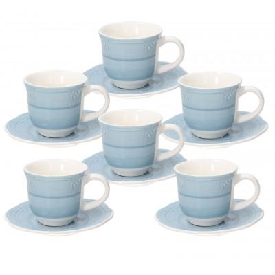 Набор чашек для эспрессо с блюдцем Shabby Azzurro 90 мл - 6 шт