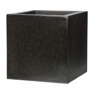 РЕГИНА, набор из 3 уличных вазонов квадратных, 30*30*30, 40*40*40, 50*50*50, черный мрамор