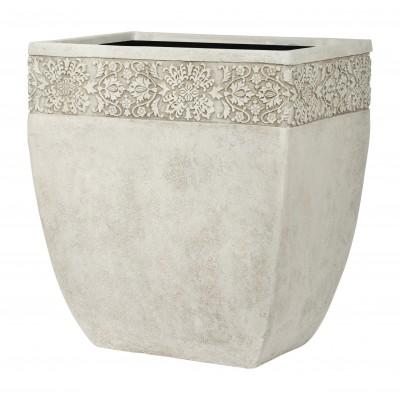 ДИЖОН, уличная ваза 24*17*26, айвори, с декоративным элементом