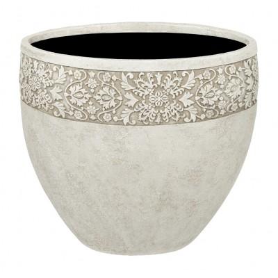 ПУАТЬЕ, ваза 29*29*25 айвори с декоративным элементом